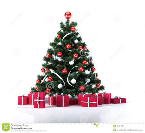 christmas tree with golden balls decoration and red gifts