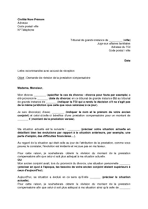 Demande De Garde Exclusive Lettre Lettre De Demande De R 233 Vision De La Prestation Compensatoire Pour Changement De Situation