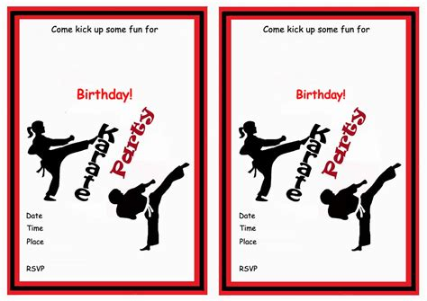 printable birthday cards karate karate birthday invitations birthday printable