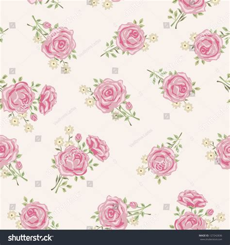 shabby chic rose pattern floral seamless stock vector