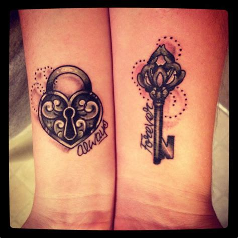 heart lock and key tattoos for couples mine and my husbands matching tattoos