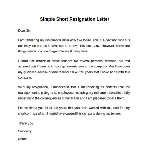 Sle Of Simple Resignation Letter In Pdf Sle Resignation Letter Notice 6 Free Documents In Word Pdf