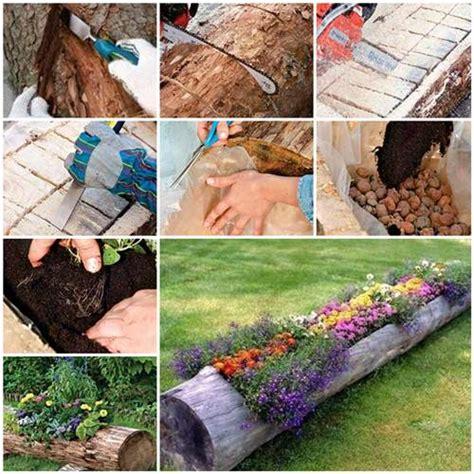 how to make flower garden how to make beautiful log garden planter