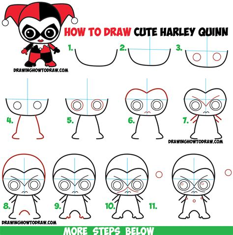 doodle draw step by step how to draw chibi harley quinn from dc comics in easy