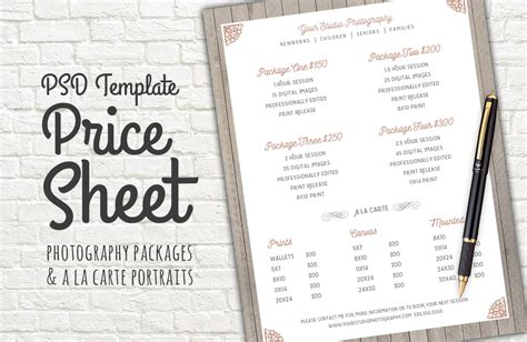 price sheet template price sheet template psd templates on creative market