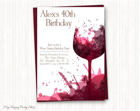 printable birthday party invitations adults wine birthday invitations adult birthday wine tasting adult