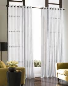 Contemporary white curtains with large design windows modern living