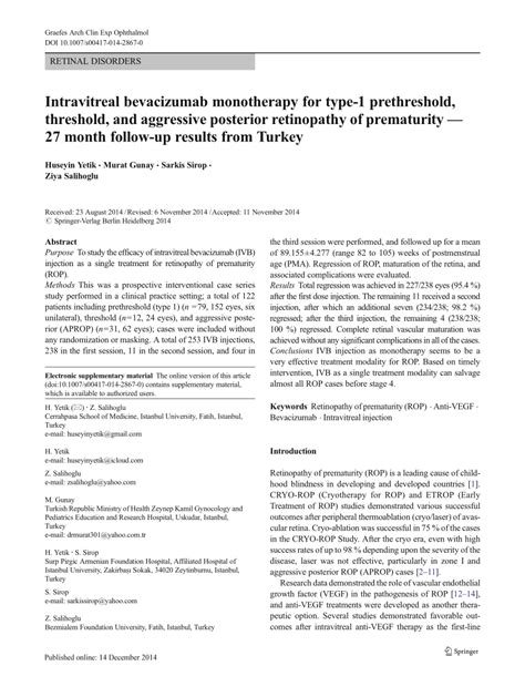 (PDF) Intravitreal bevacizumab monotherapy for type-1