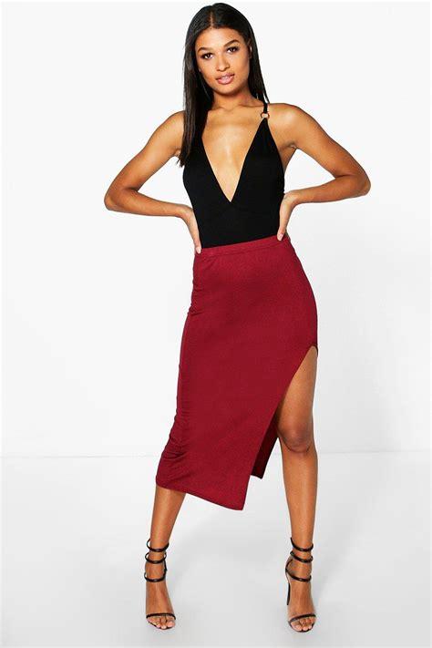 chelsie side split midi skirt