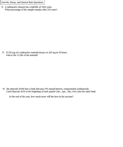 Exponential Growth And Decay Worksheet Algebra 2 Answers by Exponential Growth And Decay Problems Worksheet Worksheets