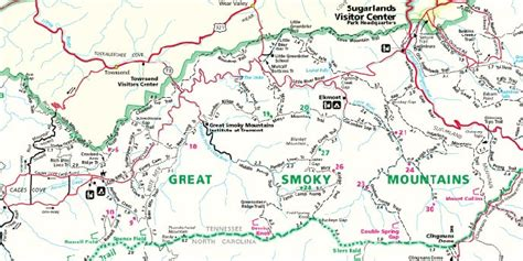 smoky mountains map great smoky mountains national park carolina tennessee usa park 7 59 cityroom