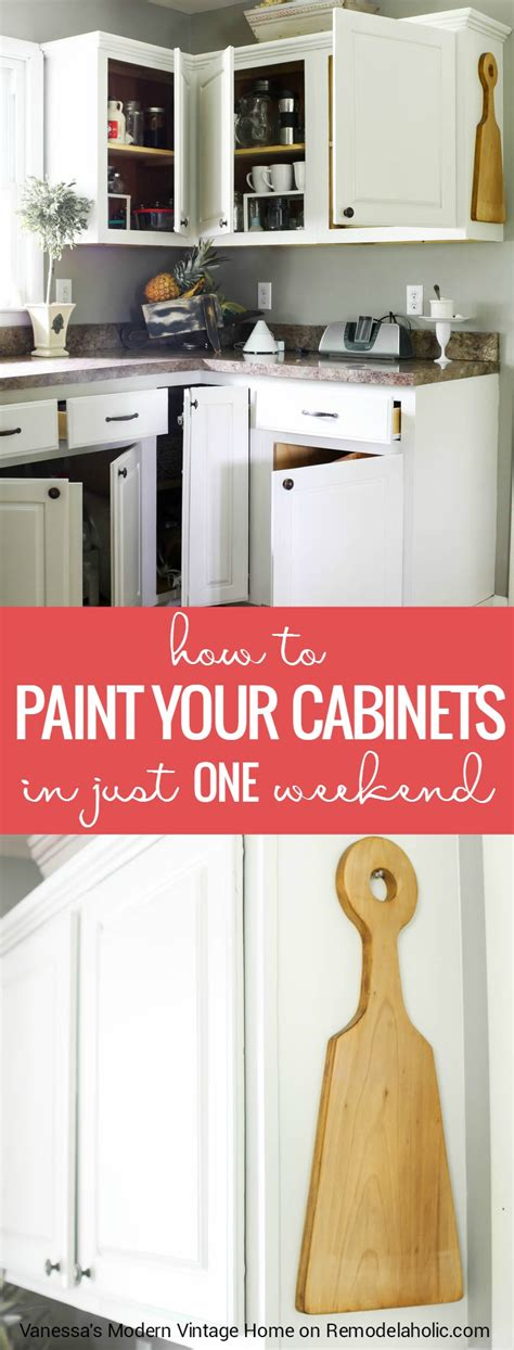 ready to paint kitchen cabinets remodelaholic how to paint your kitchen cabinets in one weekend