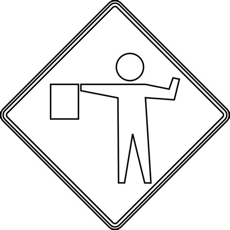 Road Sign Outlines by Flagger Outline Clipart Etc
