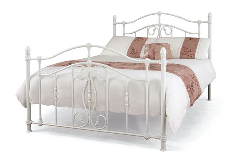 5ft king size white metal bed frame