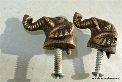 Elephant Drawer Pulls Knobs by 2 Tiny Elephant Shape Pulls Handles Antique Solid Brass