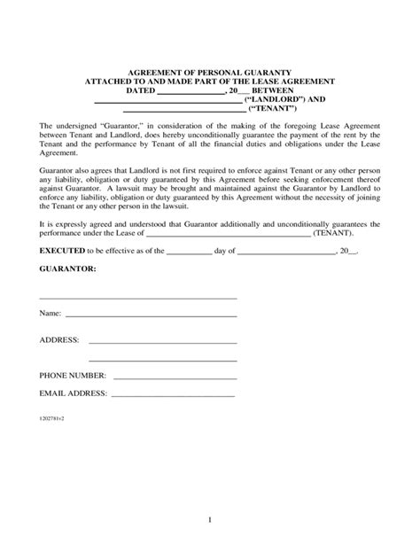 personal guarantee form template guarantor agreement form 16 free templates in pdf word