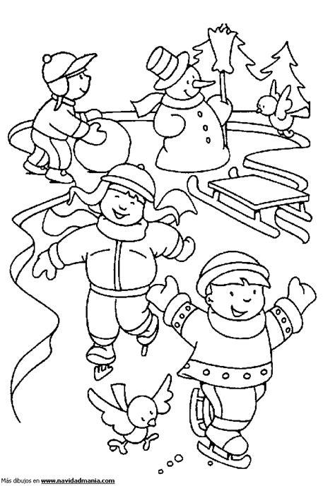 dibujos de navidad para colorear los niños dibujo de ni 241 os patinando para colorear de navidad