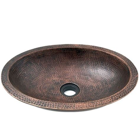 hammered copper vessel sink 19 quot oval hammered copper wall bar vessel sink
