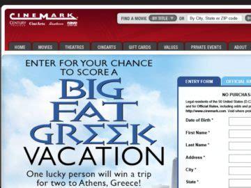 Greece Sweepstakes - the cinemark big fat greek vacation sweepstakes