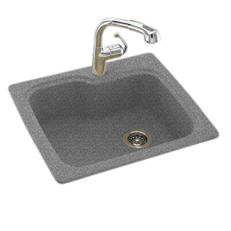 Swan Granite Kitchen Sink Swan Dual Mount Composite 25 In 1 Single Bowl Kitchen Sink In Gray Granite Ks02522sb 042