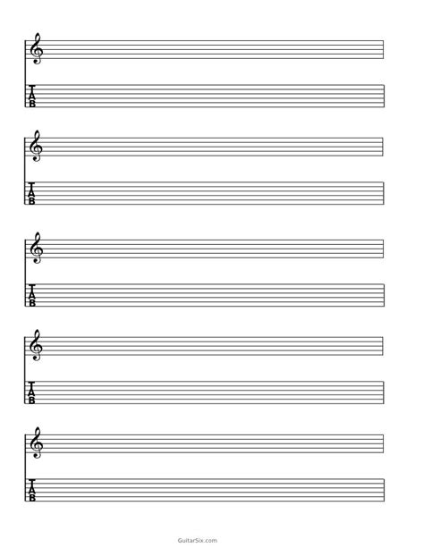 printable staff paper for guitar blank guitar tab sheet music paper