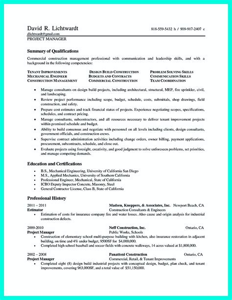 Resume Sles For Project Manager For Construction Commercial Construction Superintendent Resume Sle