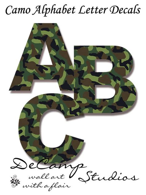Nursery Decor Letters by Camo Alphabet Letters Wall Decals Kids Army By Decampstudios