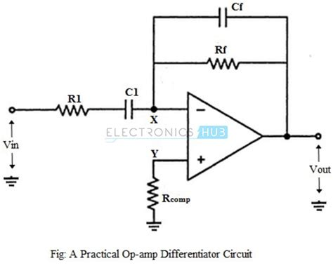 circuit diagram of integrator and differentiator using op operational lifier as differentiator circuit applications