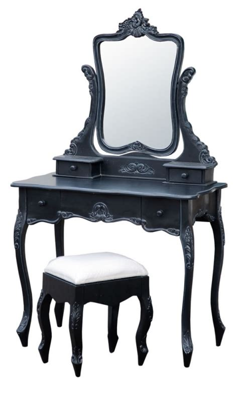 antique noir black dressing table with mirror and