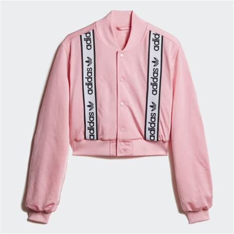adidas cropped bomber jacket pink adidas