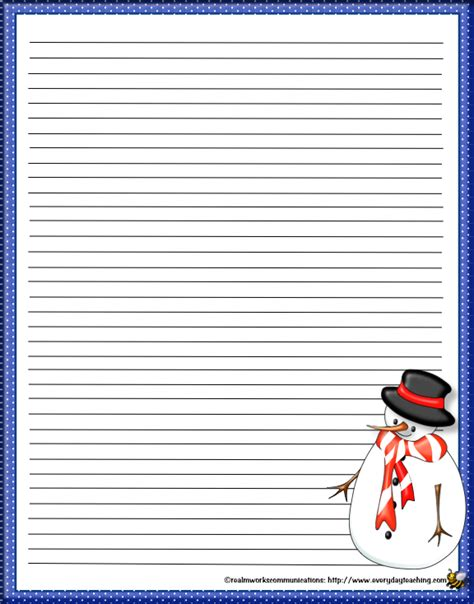 free printable snowman writing template 6 best images of snowman printable stationery free