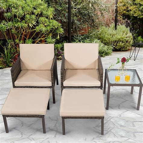 pieces outdoor patio furniture set rattan chairs