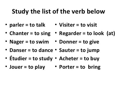 er verb pattern french how to conjugate regular er verbs in french