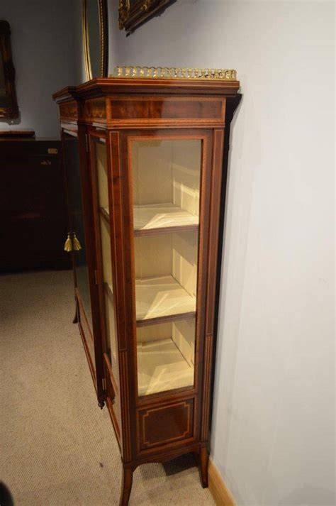 Antique Display Cabinet by Mahogany Inlaid Antique Display Cabinet By Edwards And