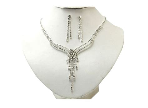 white necklace pattern lovely pattern white crystal silver plated necklace set