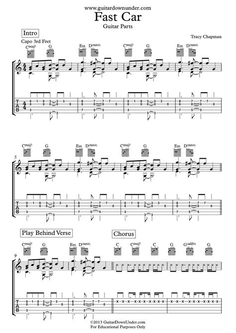 tutorial guitar fast car quot fast car quot guitar chords and tab by tracy chapman