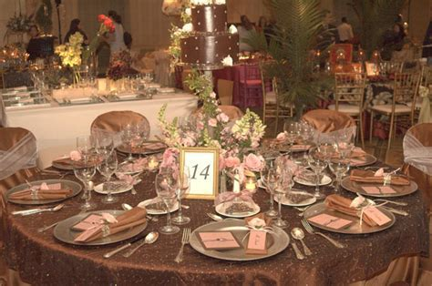 Pink and Chocolate Brown Color Scheme Wedding Table