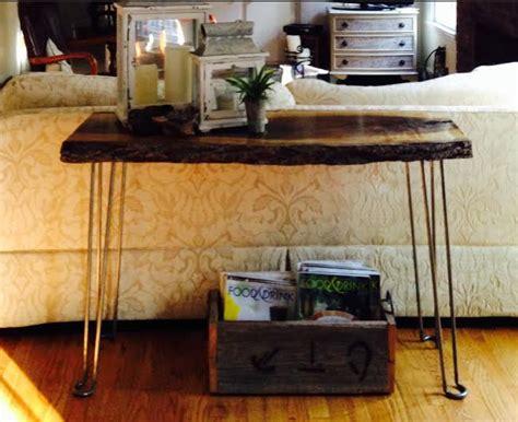 live edge sofa table legs live edge walnut sofa table with hairpin legs modern legs