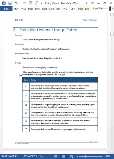 company policy manual template company policy manual template pccc us