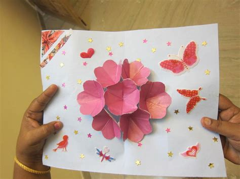how to make pop up flowers card in paper pop up flower card 5 steps