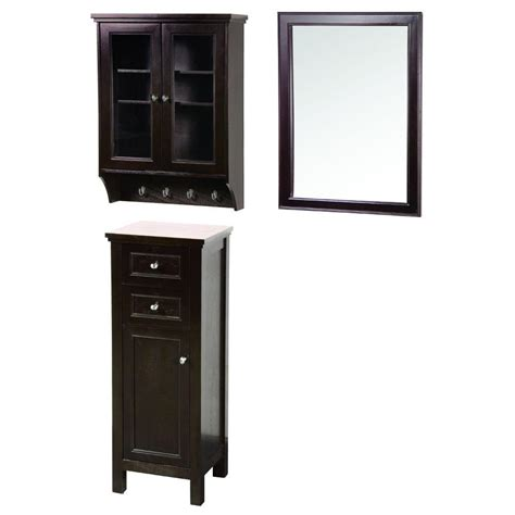 floor cabinet with glass doors foremost gazette 42 in l x 16 in w wall mirror and wall