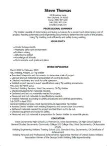 welder resume exles