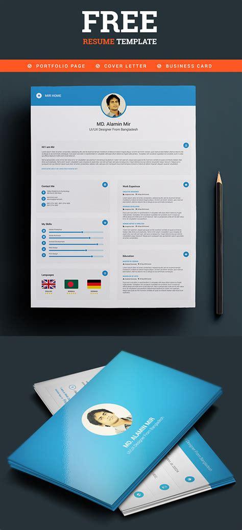 free resume business card template 20 free cv resume templates psd mockups freebies