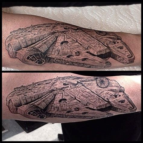 millennium falcon tattoo now that is how you do a millennium falcon