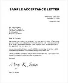 Letter Of Acceptance Template by Sle Acceptance Letter 7 Documents In Pdf Word
