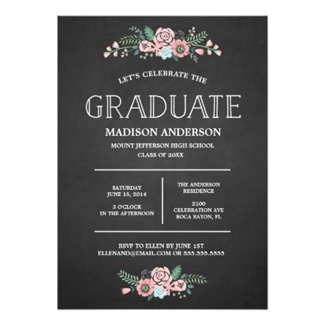 Invitation Cards Templates For Graduation by Sweet Floral Graduation Invitation Card
