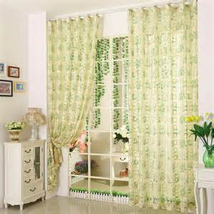 green floral sheer fabric curtains