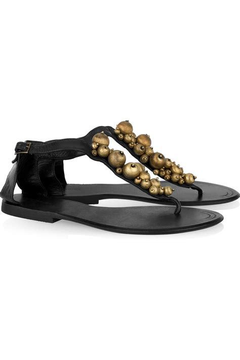 Lola Batik antik batik lola embellished leather flat sandals in black