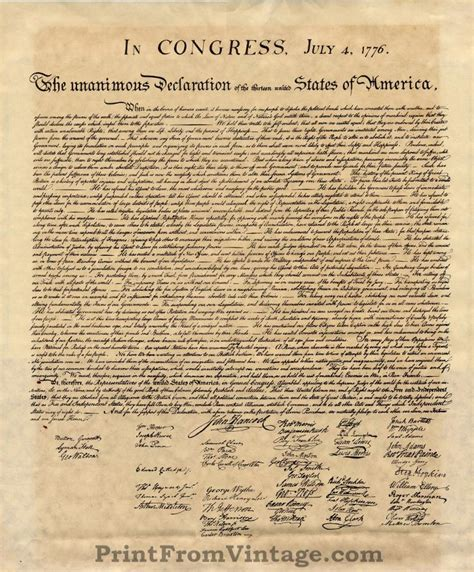 printable declaration of independence the declaration of independence print from vintage