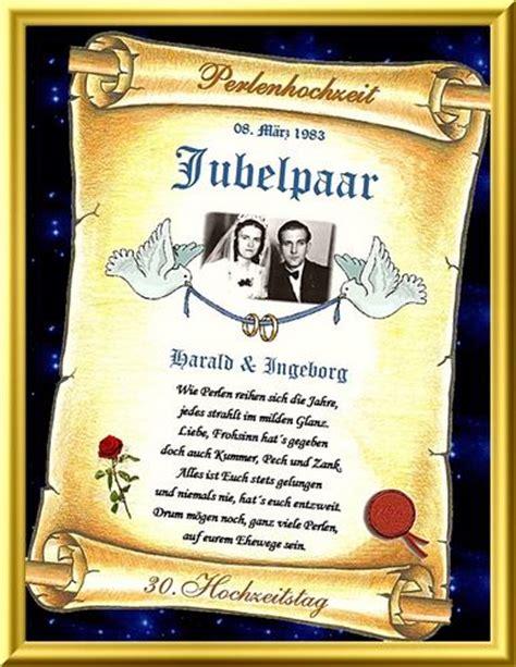 Hochzeit 30 Jahre by Geschenk Perlenhochzeit 30 Hochzeitstag Urkunde